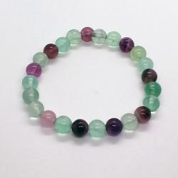 Elastic Natural Fluorite Beads Bracelet