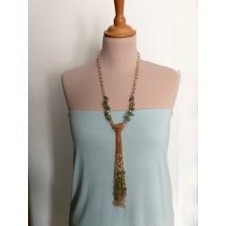 Aventurine Semiprecious stone tassle long necklace Maggiore