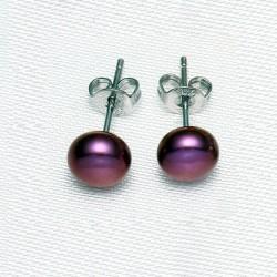 Bordeaux Dyed Pearl Stud Earrings
