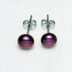 Pendientes tipo botón con Perla natural color vino