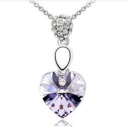 Collar Corazón Cristal Color Amatista