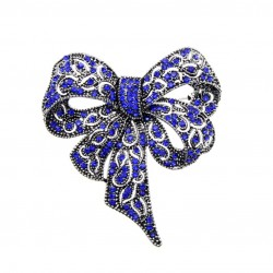 Bow Brooch with Blue Crystals