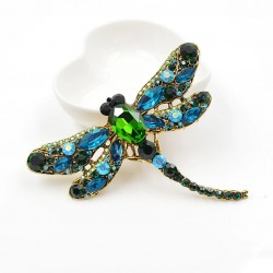 Broche de libélula con cristales verdes y azules