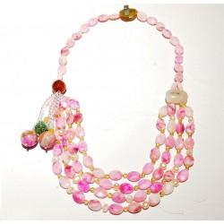 Collar maxi con piedras naturales rosas de Jade