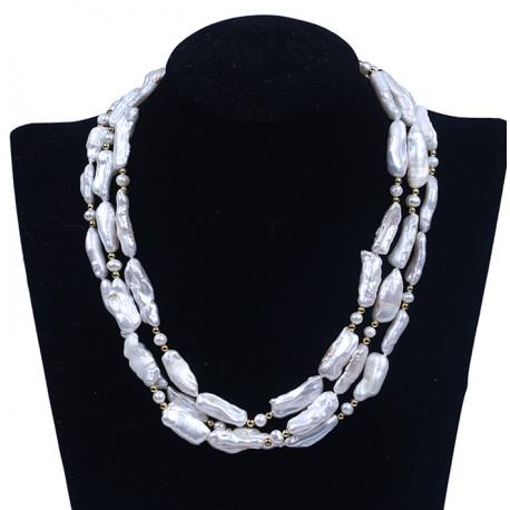 Unique White Biwa Freshwater Pearl Multilayer Necklace