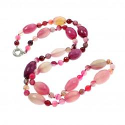 Collar largo de piedras naturales ágata rosa o marrón