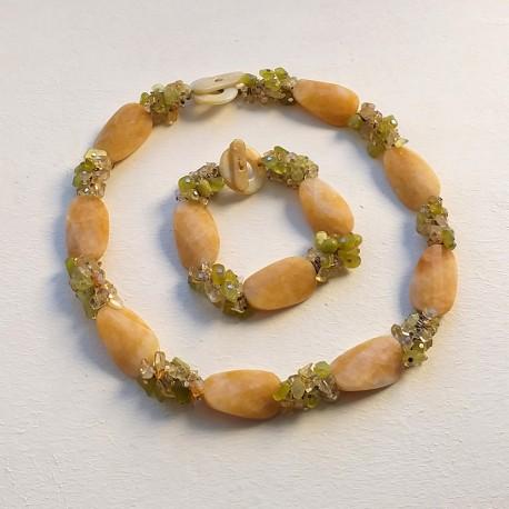 Handmade Unique Jewelry Set with Jade, Olivine and Citrine Stones