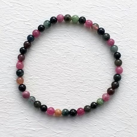 Natural Multicolor Tourmaline Beads Elastic Bracelet
