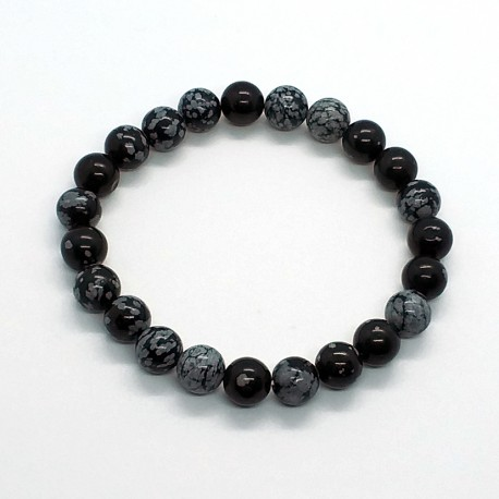 Natural Stone Snowflake Obsidian Beads 8mm Bracelet