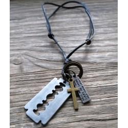 Vintage Corss Pendant Leather Necklace