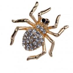 Broche dorado Araña con cristales