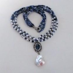 Collar Signature de Sodalita y colgante gran perla barroca Keshi