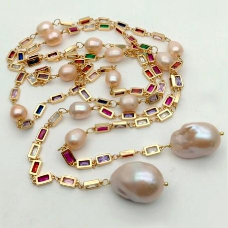 Collar Signature largo con cristales cz y perlas keshi rosa