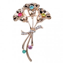 Pin Brooch with Three Flowers