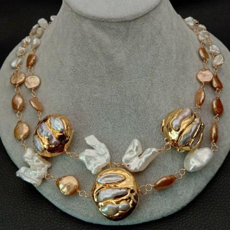 Collar Signature con perlas keshi doradas