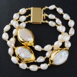 Pulsera Signature con perlas keshi doradas