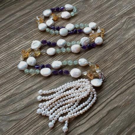 Collar largo Maxi con perlas barrocas, amatista, citrina y peridoto