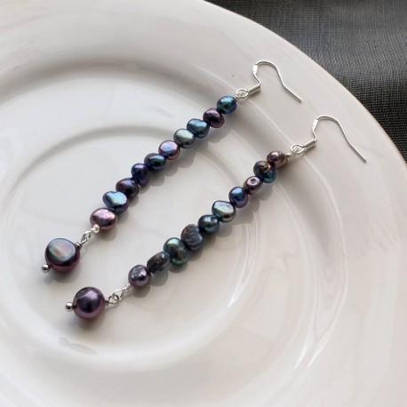 Natural Freshwater Black Pearl Dangle Long Earrings