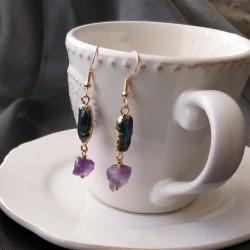 Freshwater Black Biwa Pearl and Natural Amethyst or Clear Quartz Dangle Earrings