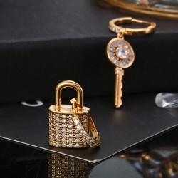 Key & Lock Hoop Assymetric Earrings with Crystals