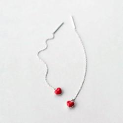 925 Sterling Silver Red Heart Earrings Minimalist Style