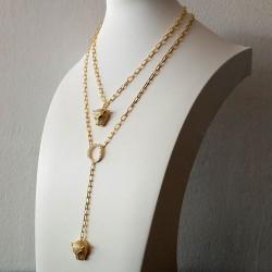 Signature Collection 2 Golden Color Necklaces Set with Leopard Pendants