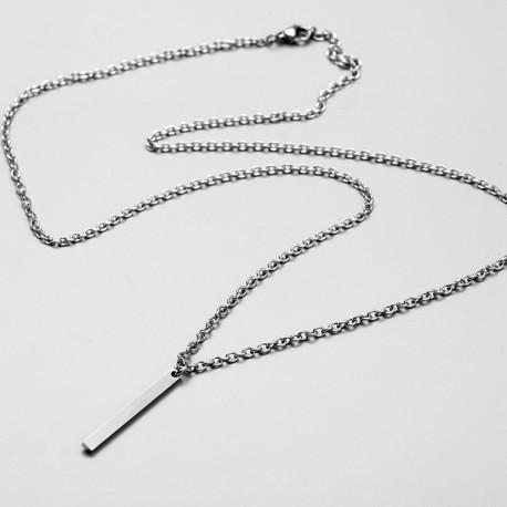 Stainless Steel Rectangular Pendant Necklace for Men