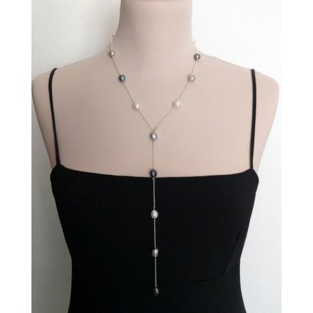 Collar largo de plata 925 y perlas naturales multicolor