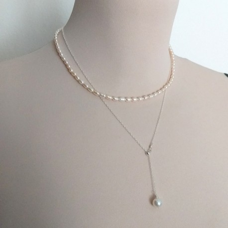 Natural Freshwater Pearl Necklace with 925 Sterling Silver Necklace Set