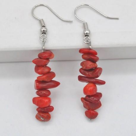 Handmade Red Sea Coral Beads Earrings