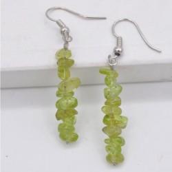Handmade Natural Stone Peridot Olivine Beads Earrings