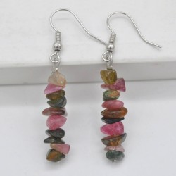Handmade Natural Stone Tourmaline Chip Beads Earrings