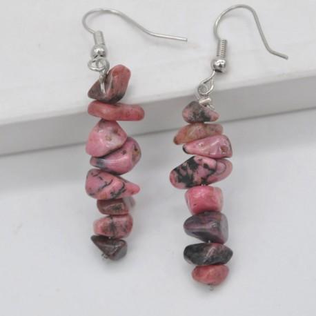 Handmade Natural Rhodonite Chip Beads Earrings
