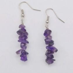 Handmade Natural Amethyst Chip Beads Earrings