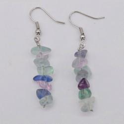 Handmade Natural Fluorite Chip Beads Earrings