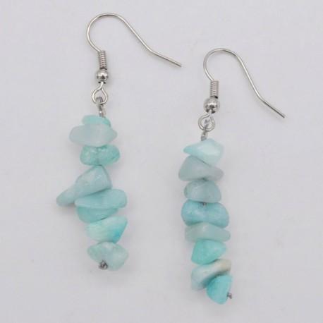 Handmade Natural Amazonite Chip Beads Earrings