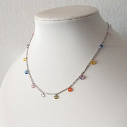 Collar gargantilla con cristales de Zirconita Cúbica Arco Iris
