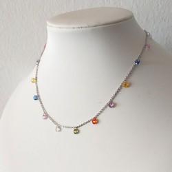 Colorful Rainbow CZ Charm Choker Necklace