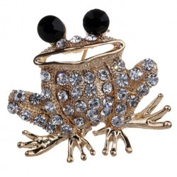 Golden Color Frog Brooch with Crystals