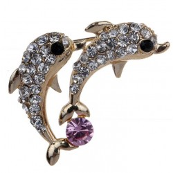 Brooch with Dolphins Couple Design