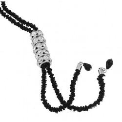 Collar largo color negro con cristales