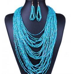 Conjunto collar y pendientes color azul estilo Caribe