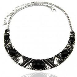 Black Geometric Resin Bead Choker Necklace