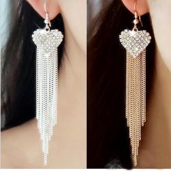 Pendientes largos elegantes con corazón y cristales