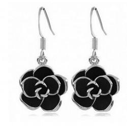 Earrings With Black Rose Flower