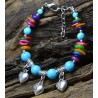 Turquoise Bracelet with  Heart-shaped Pendants
