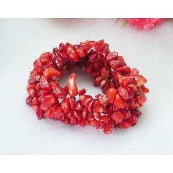 Red Coral Chip Gem stone Beads Bracelet