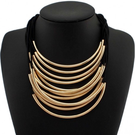 Bright Metal Pipe Choker Necklace Avanguardia