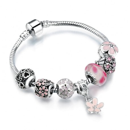 European Charms Bracelet with Flower Pendant
