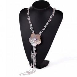 Collar de Quarzo rosa y Flor de Conchas con Perlas